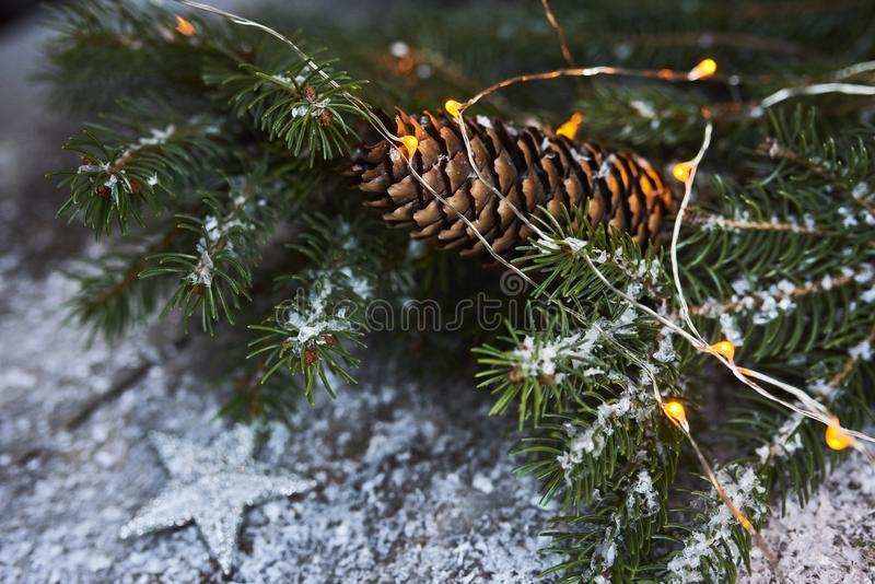 Christmas background. Christmas tree, pine cones and snow over w stock photo