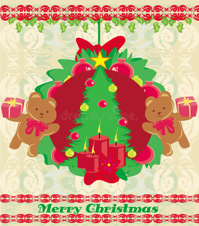 Christmas background with Christmas tree and sweet teddy bears vector illustration