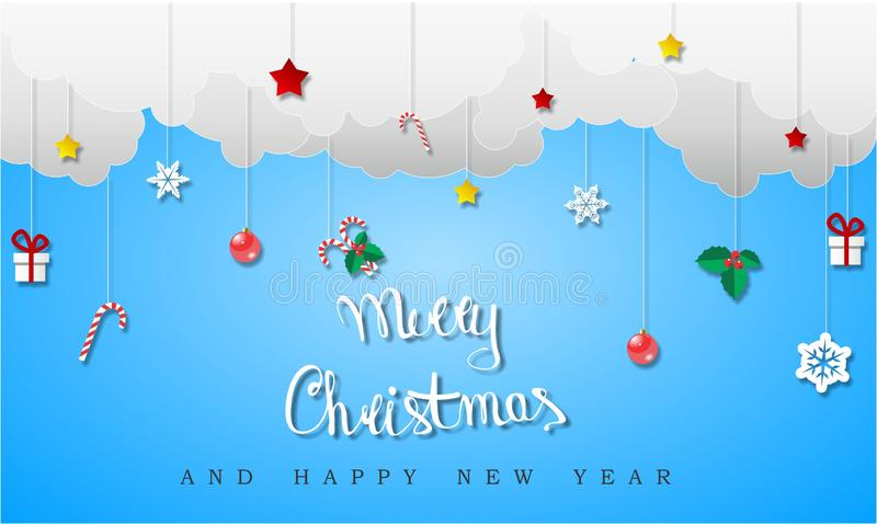 Christmas background with clouds stock image