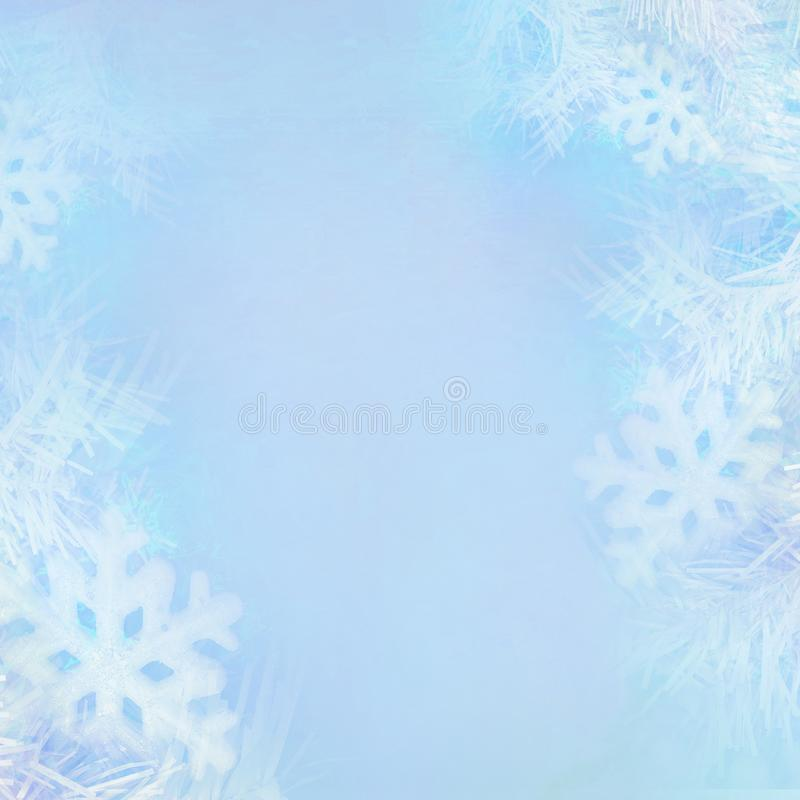 Christmas background concept design of white snowflake and snow with copy space. Raster Illustration vector illustration