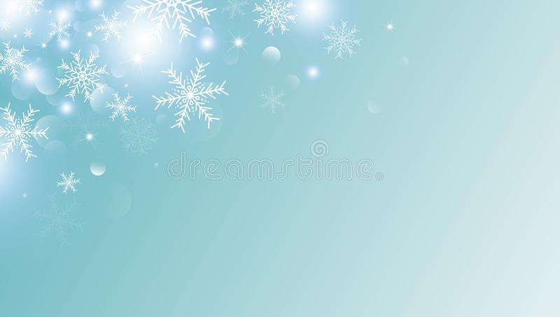Christmas background concept design of white snowflake and snow with copy space vector illustration. For design work vector illustration