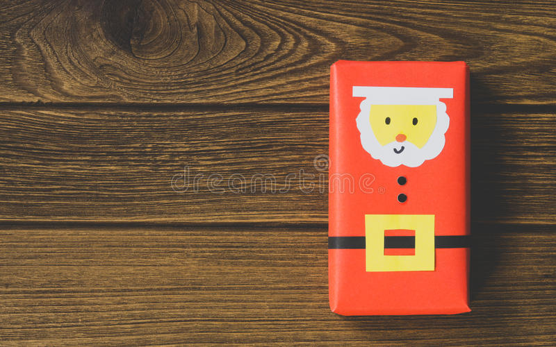 Christmas background with copy space. Top view of DIY santa gift royalty free stock photos
