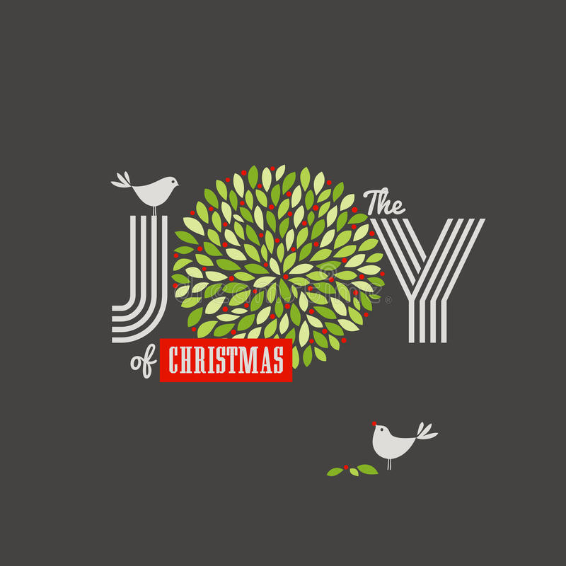 Christmas background with cute birds and the joy of Christmas slogan stock illustration