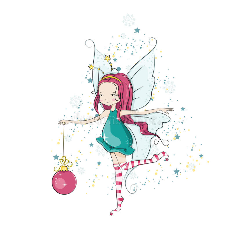 Christmas background. Cute Christmas fairy holding in her hand a bright Christmas ball. Vector illustration vector illustration