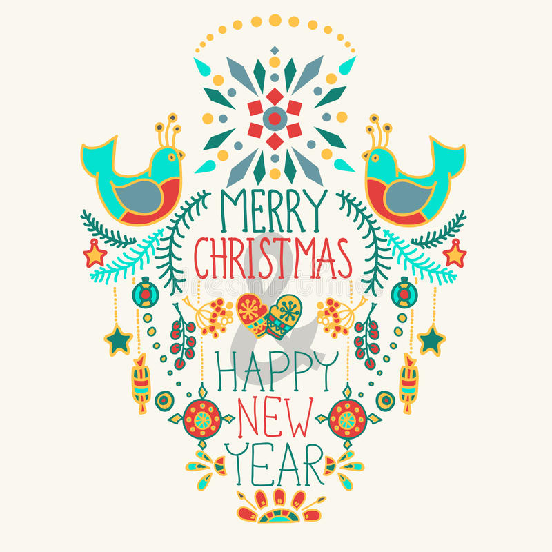 Christmas Background With Cute Floral Ornament And Hand