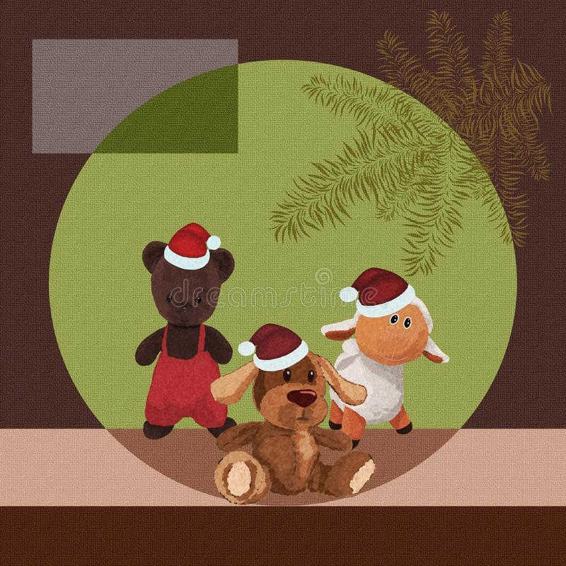 Christmas background with cute plush toys against Christmas tree royalty free illustration