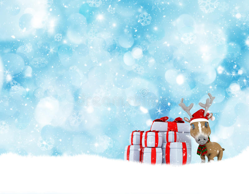 Christmas Background With Cute Reindeer And Stack Of Gifts