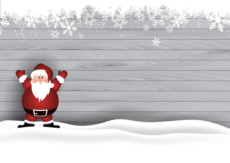 Christmas background with Santa on wooden texture. Christmas background with cute Santa Claus on a wooden texture stock illustration