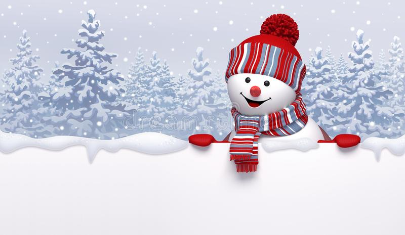 Christmas background, 3d cute happy snowman wearing knitted cap and scarf, holding blank banner. Cartoon character, funny toy royalty free illustration