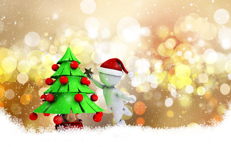 Christmas background with 3d morph man. 3D morph man putting the star on a tree on a decorative Christmas background with bokeh lights and snowflakes stock illustration