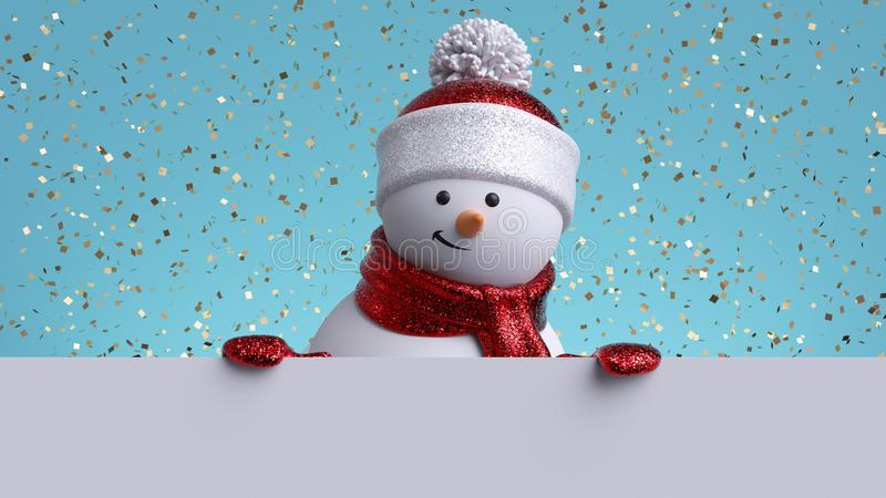 Christmas background. 3d snowman holding white board. Winter holiday blank banner template. Happy New Year greeting card mockup stock photo