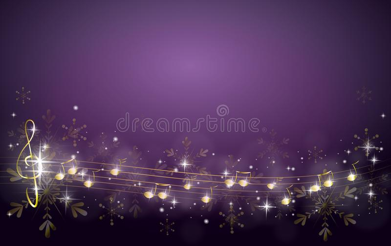 Christmas background decorated with music notes stock illustration