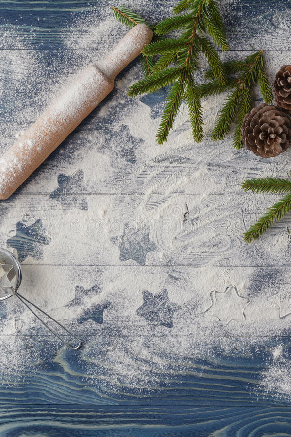 Christmas background decoration. cookies shape star. Flour and royalty free stock image