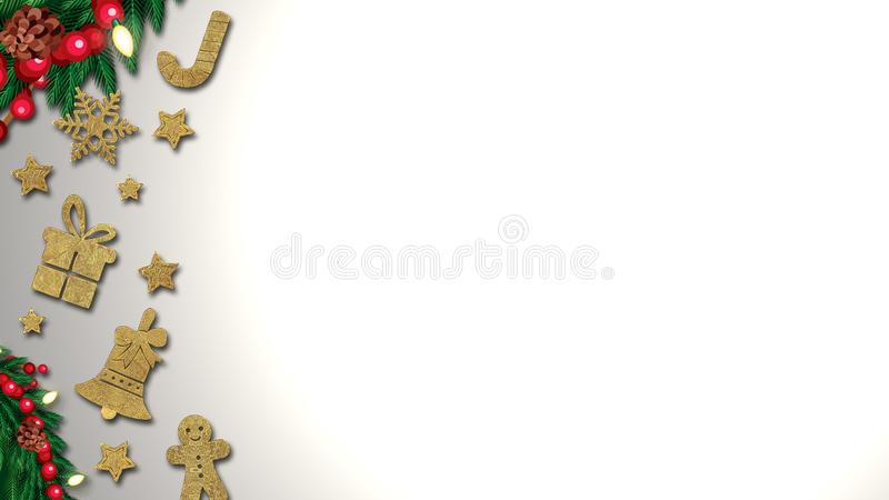 Christmas background with decoration on dark wooden board. Christmas top view with text space stock illustration