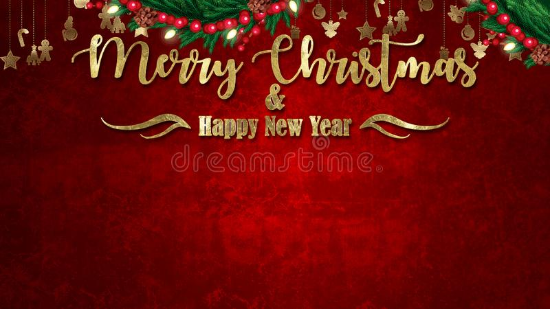 Christmas background with decoration on dark wooden board. Christmas top view with text space vector illustration