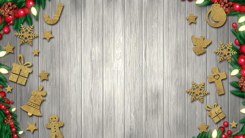Christmas background with decoration on dark wooden board. Christmas top view with text space royalty free illustration