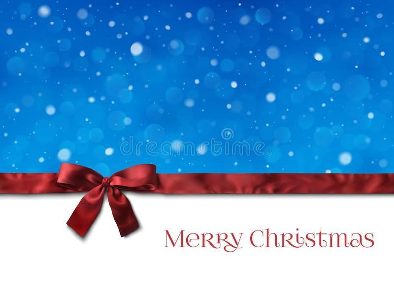 Christmas background decoration. With a ribbon an snow vector illustration