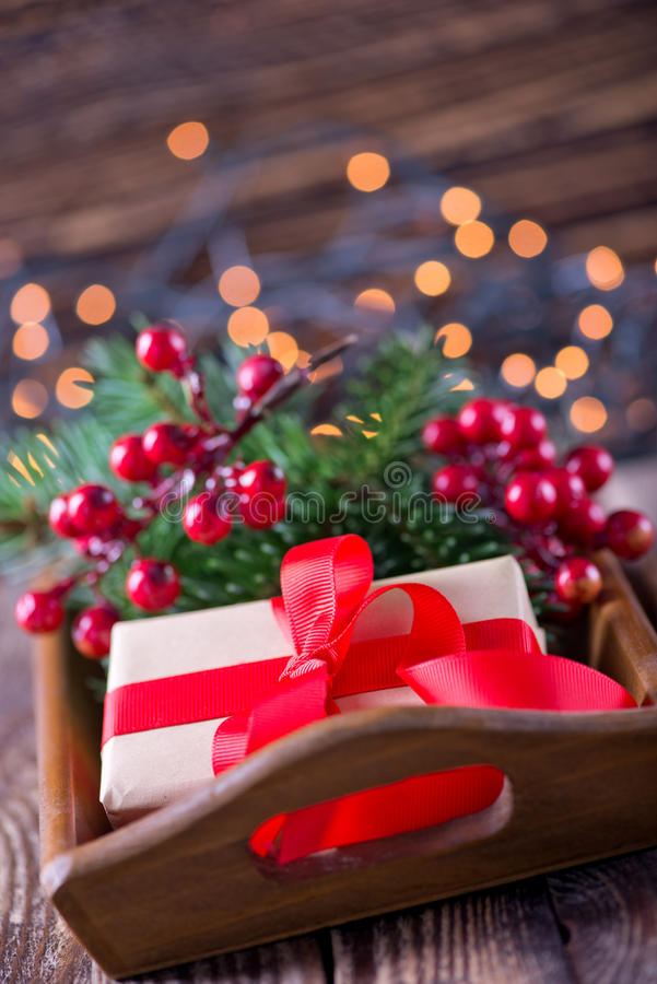 Christmas background. Christmas decoration on a table royalty free stock photo