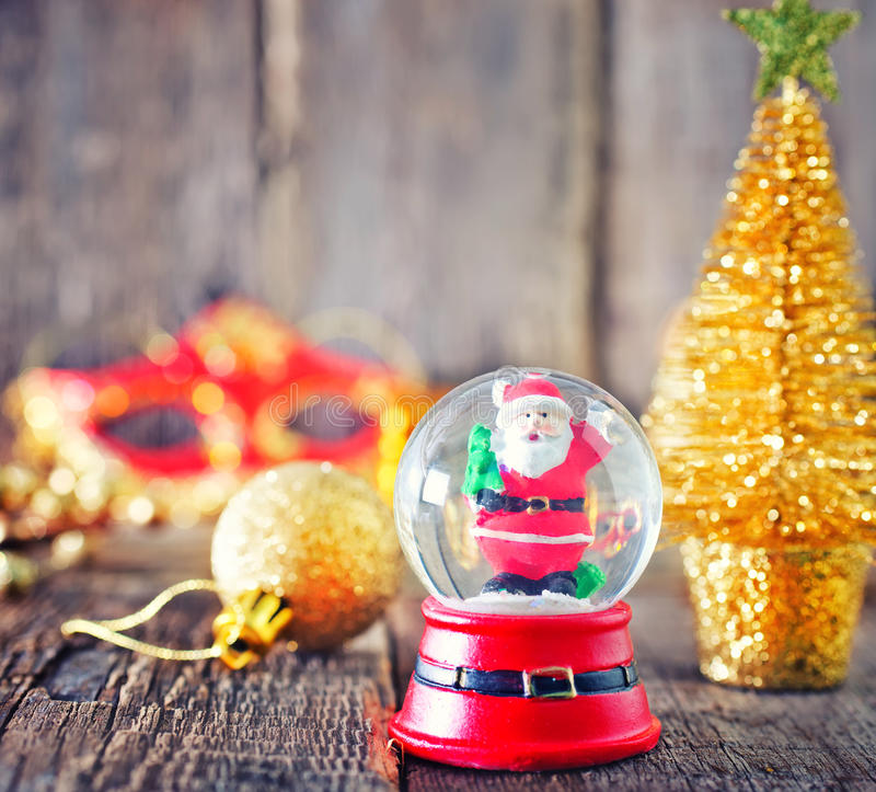 Christmas background. Christmas decoration on the wooden table, christmas background stock photo