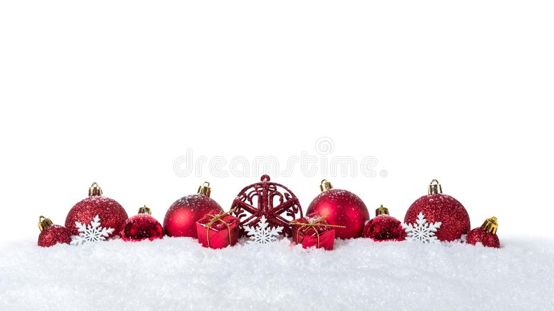 Christmas background with decorations and christmas balls on snow isolated on white background.  stock photography
