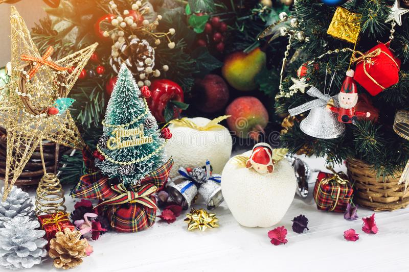 Christmas background with decorations and gift boxes on wooden stock image