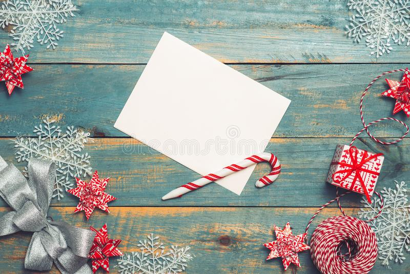 Christmas background with decorations on wooden background. Top royalty free stock images