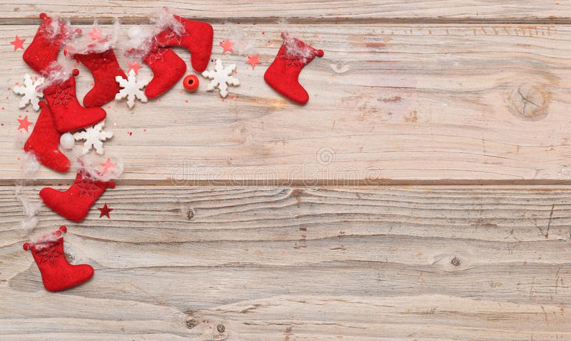Christmas frame with red socks royalty free stock images