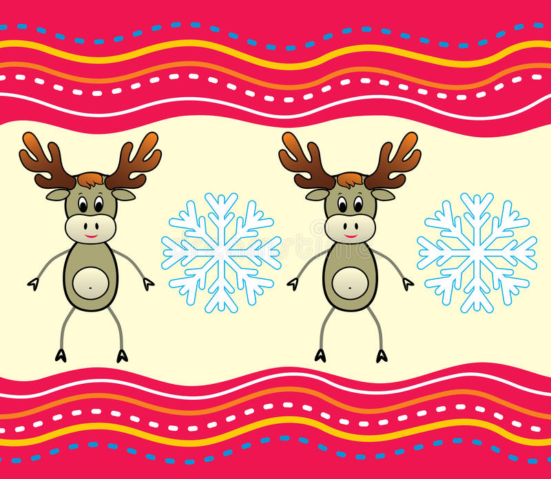 Christmas background with a deer. stock illustration