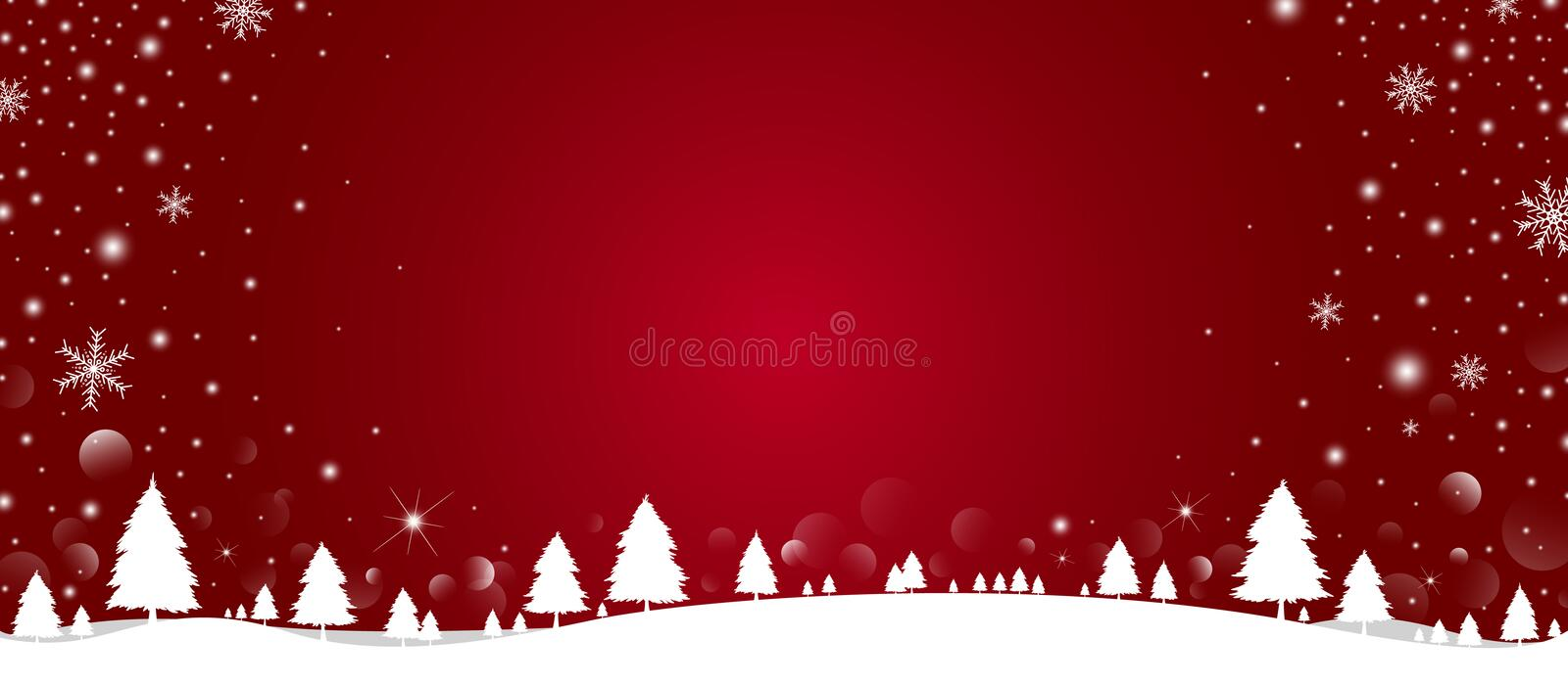 Christmas background design of pine tree and snowflake with snow falling in the winter vector illustration stock photos