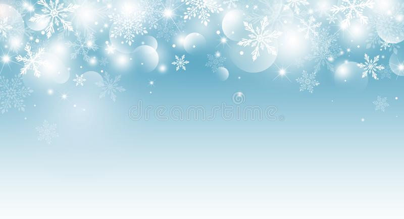 Christmas background design of snowflake and bokeh with light effect vector illustration stock images