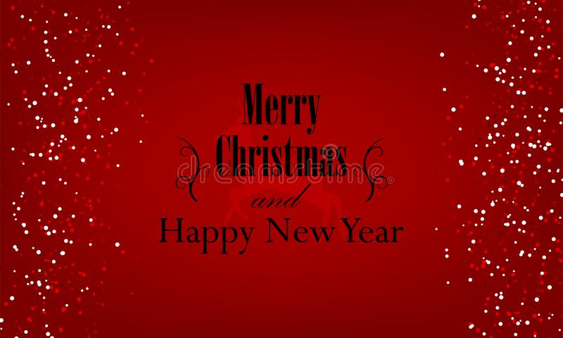 Christmas and New Year typographical on red background with Gold glitter texture. stock illustration