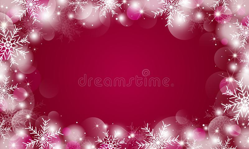 Christmas background design of snowflakes and bokeh lights vector illustration stock image