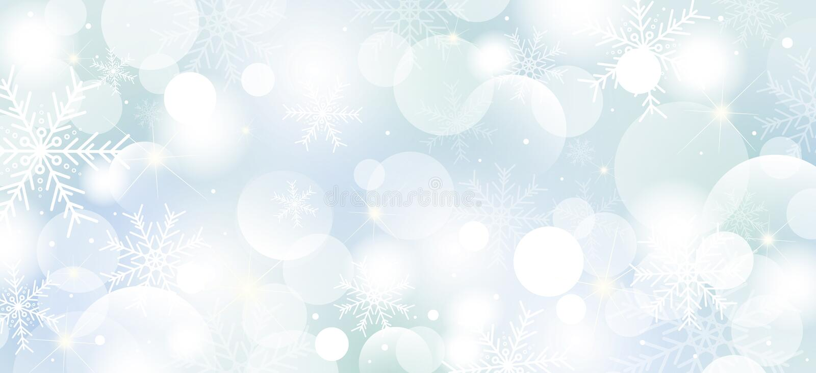 Christmas background design of snowflakes and bokeh lights vector illustration stock images
