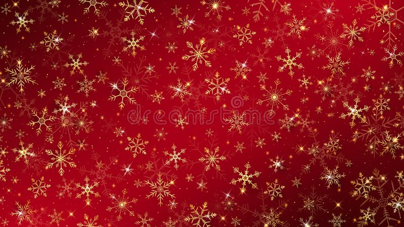 Christmas background. Dressed by gold snowflakes and glitter all elements almost sparkling