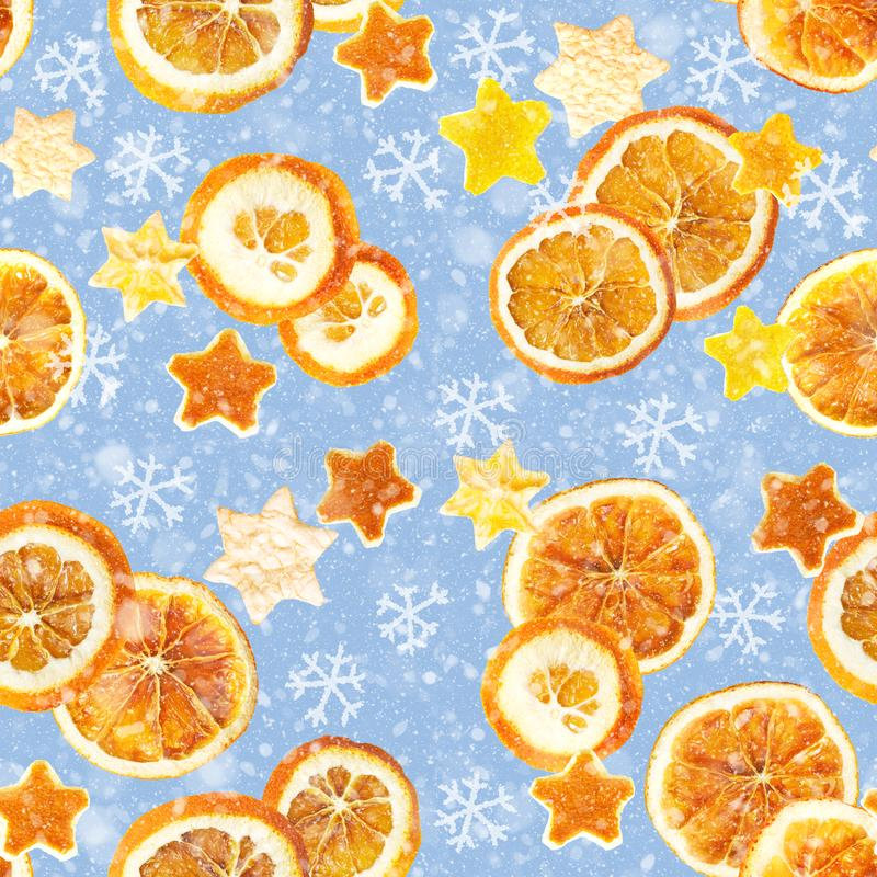 Christmas background of dried oranges, peel in the shape of a star and with cinnamon. Seamless background. Christmas background of dried oranges, orange peel in royalty free illustration