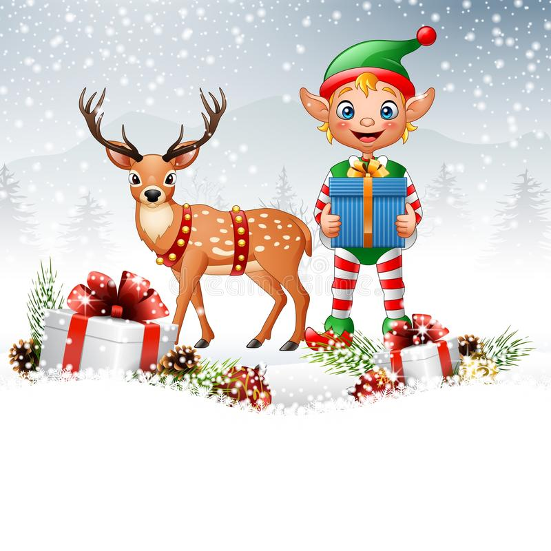 Christmas background with elf and deer. Illustration of Christmas background with elf and deer vector illustration