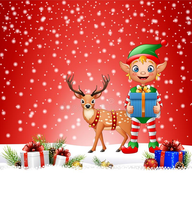 Christmas background with elf and deer. Illustration of Christmas background with elf and deer royalty free illustration