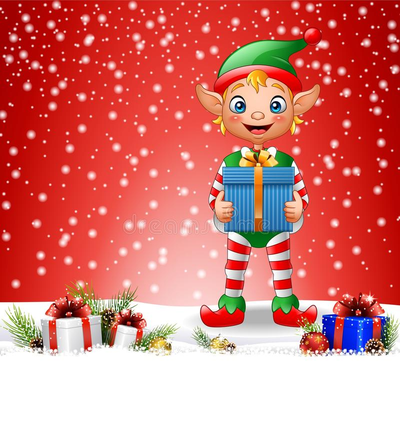 christmas background with elf holding gift box stock