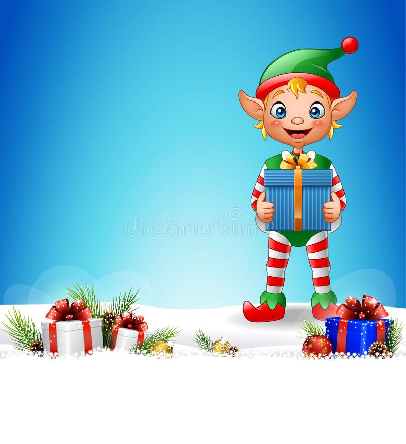 Christmas background with elf holding gift box. Illustration of Christmas background with elf holding gift box vector illustration