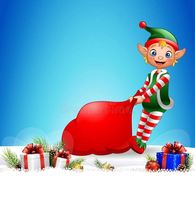 Christmas background with elf pulling a bag full of gifts stock illustration