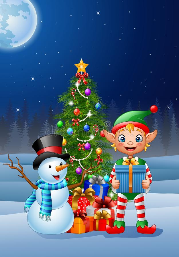 Christmas background with elf and snowman. Illustration Christmas background with elf and snowman stock illustration
