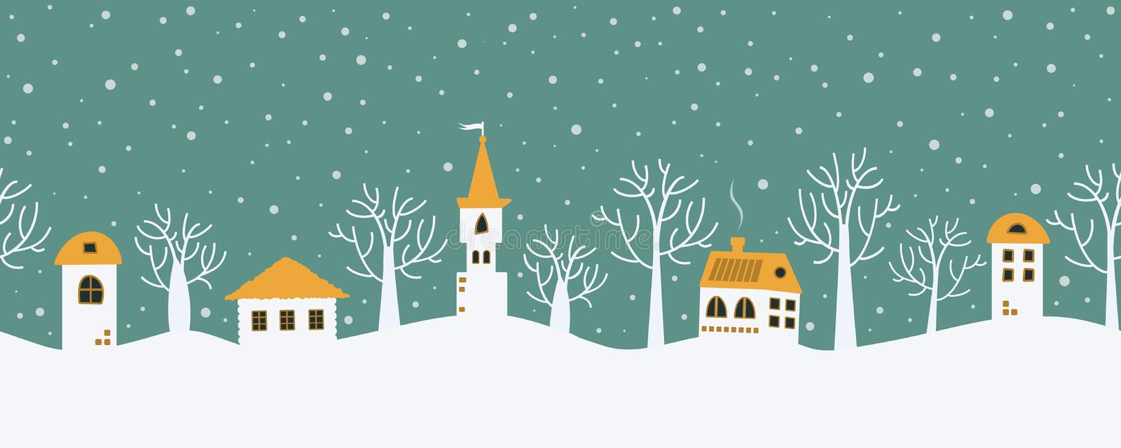 Christmas background. Fairy tale winter landscape. Seamless border vector illustration