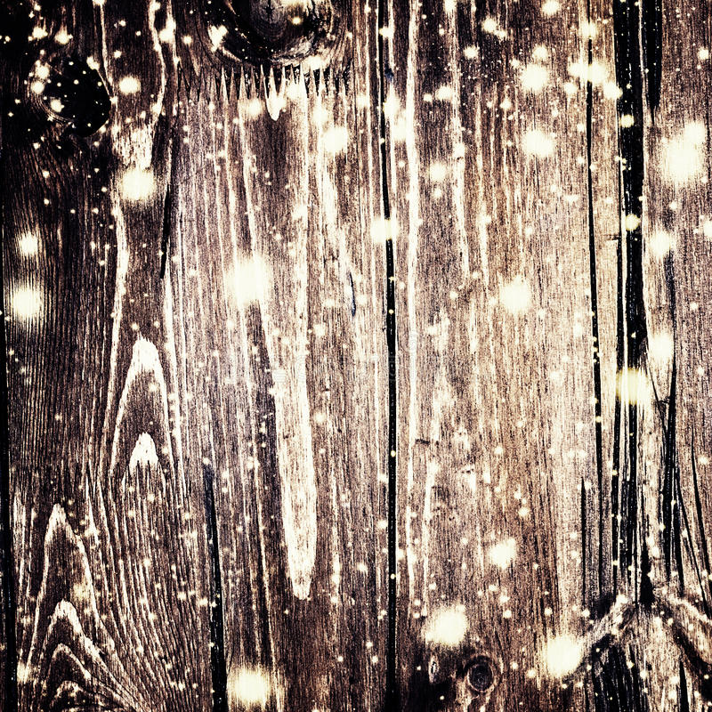 Download Christmas Background With Falling Snow And Xmas Lights On Dark Stock Photo
