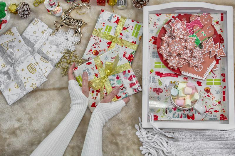 Christmas background. Female hands holding gingerbread cookies, Christmas tree, decorations and accessories. Christmas background. Female hands holding royalty free stock images