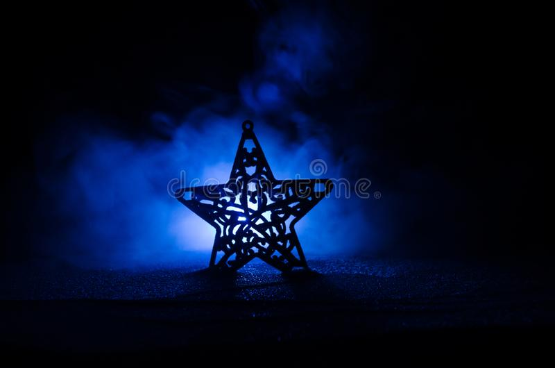 Download Christmas Background With Festive Decoration, Star On Dark Blue Background With Copyspace Stock Image - Image of magic, color: 105633101