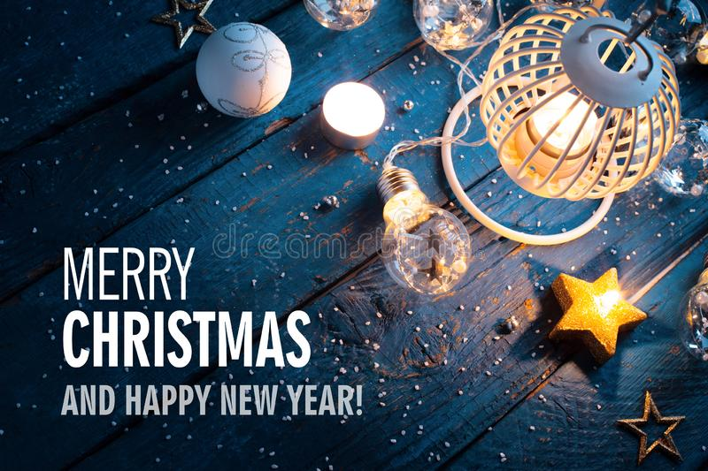 Christmas background with festive decoration and text stock photography