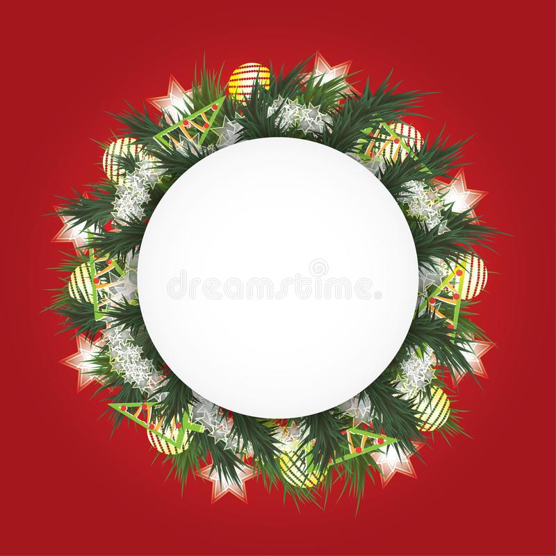 Christmas background with fir branches in a circle, the white balls, toys and shining stars royalty free stock images