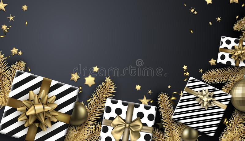 Christmas background with fir branches and gifts. stock illustration