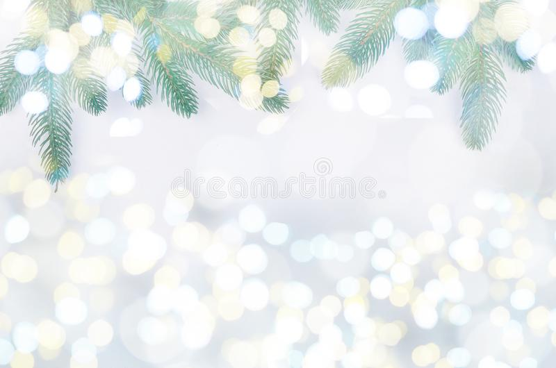 christmas background with fir branches, gifts, Christmas toys royalty free stock photography
