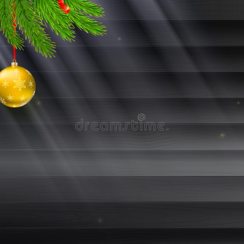 Christmas background with fir branches, red berries on dark wooden plank, rays of light and glitter. Christmas background with fir branches, red berries on dark vector illustration